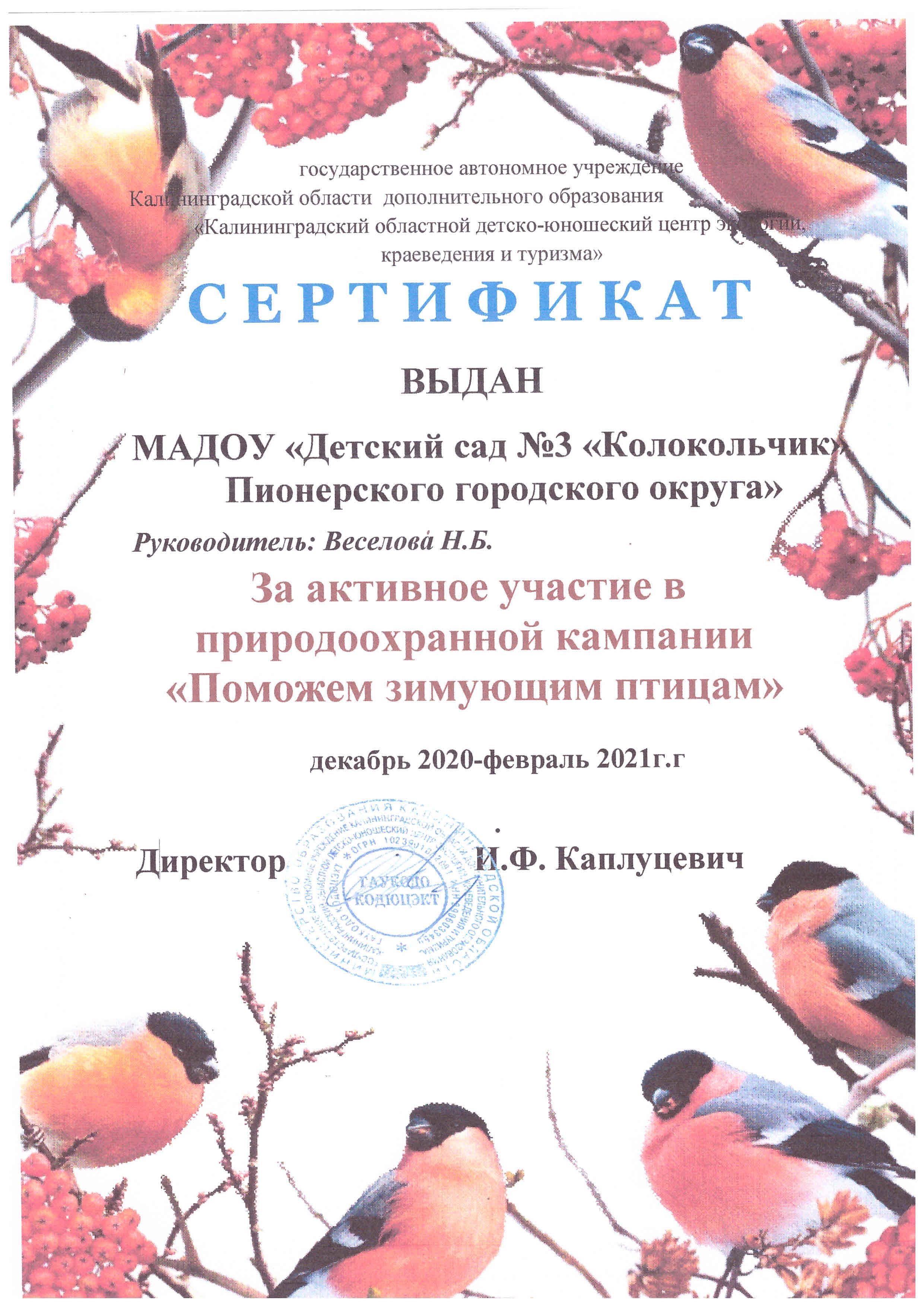 Сертификат Птицы 2021